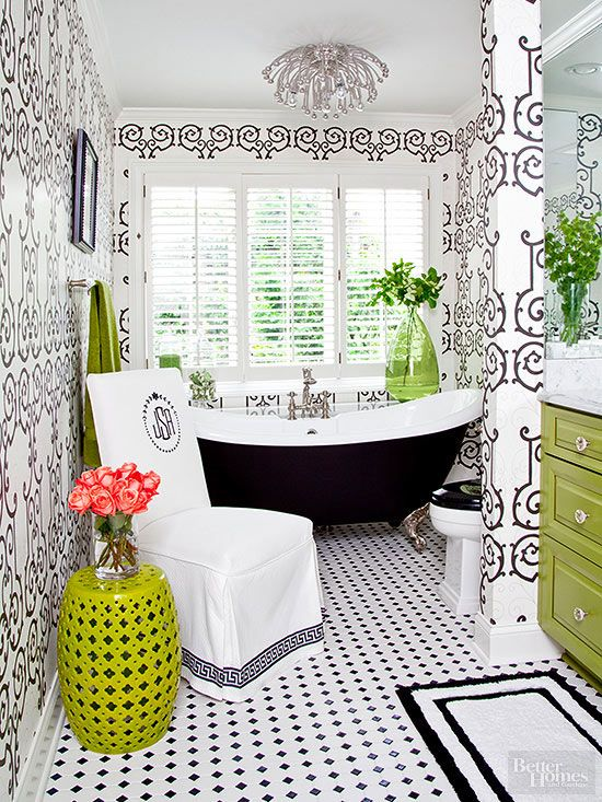 An eclectic attitude and retro influences combine for a one-of-a-kind bathroom that remains harmonious - bathroom decor.