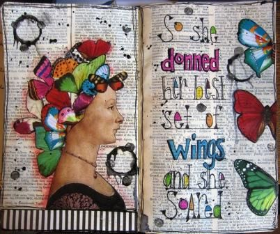 Art journal page by nayski (Renee Stien). Love those butterflies. flying oddities spread, via Flickr.