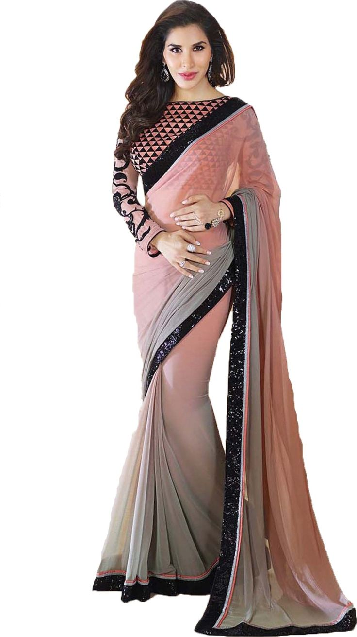 Bollywood Style Peach Grey Shaded Chiffon Sari with Black Sequined Border #SophieChoudry #Bollywood #OmbreSaree