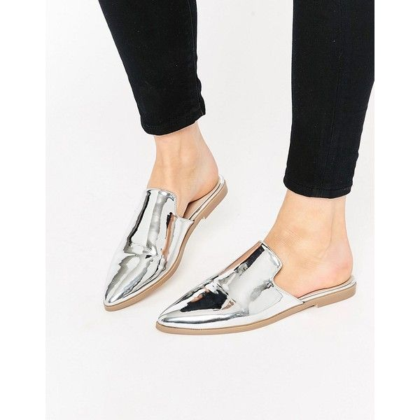 ASOS MONTANA Pointed Flat Mules (€26) ❤ liked on Polyvore featuring shoes, flats, silver, slip on shoes, silver shoes, flat pumps, pointy toe shoes and flat shoes