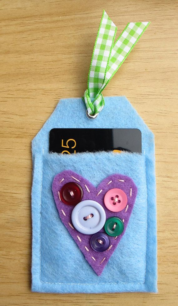 Felt Heart Gift Card Holder Tag.