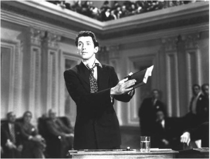 Jimmy Stewart as Senator Jefferson Smith in MR. SMITH GOES TO WASHINGTON