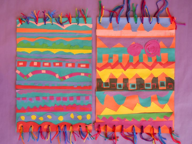 The Elementary Art Room!: INDIA: Dhurrie Rugs/Magic Carpets with cut paper and yarn. 3rd grade.