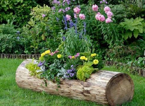 Colorful log planter