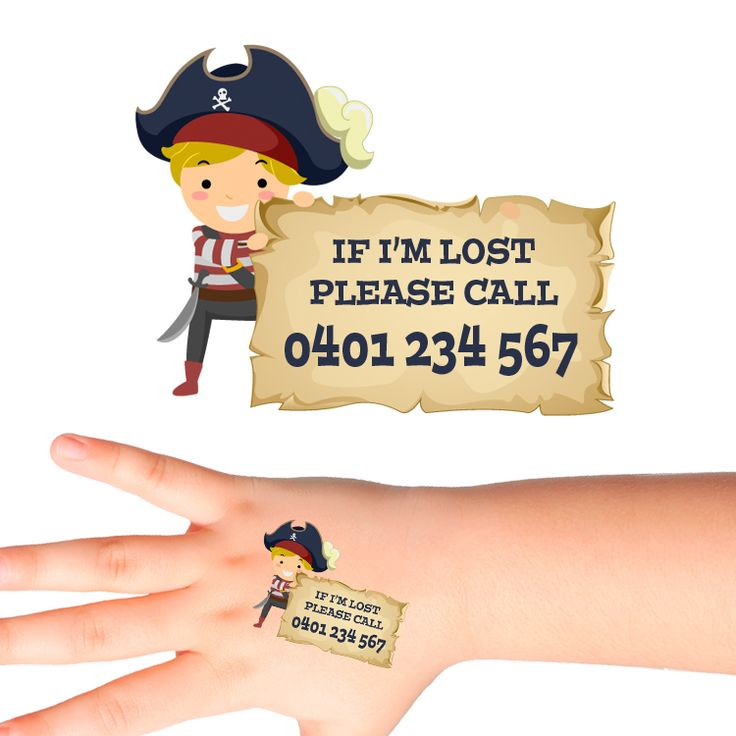 Pirate Personalised Safety Tattoos #522 (28 pack)