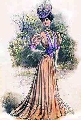 Belle Époque spring costume in pastel color in Sans-Ventre-line.