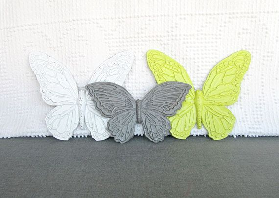 Wall Butterflies Lime Green Grey White  Upcycled by BeautiSHEWall Butterflies, Butterflies Limes, Green Grey, Butterflies Sets, Green Butterflies, Grey White, Limes Green, Decor Butterflies