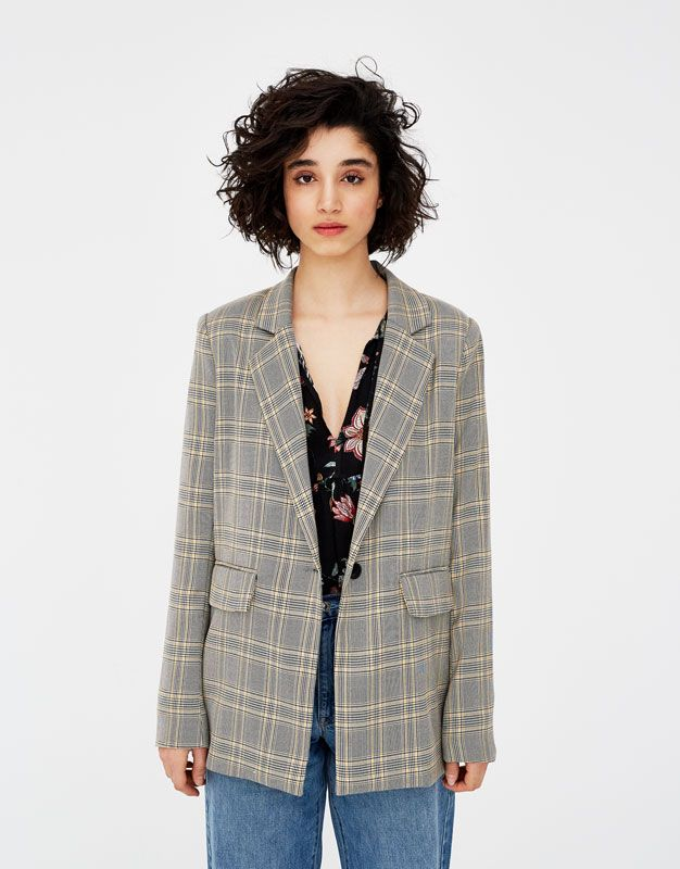 Veste tailleur carreaux anglais - Blazers - Manteaux et blousons -  Vêtements - Femme - PULL BEAR France fe8447999577