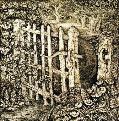 The Wicket Gate by Robin Tanner. His subject matter, medium and style reflect the English landscape tradition, recalling in particular the work of the romantic pastoralist, Samuel Palmer. The inspiration for these etchings came from the Wiltshire countryside which he adored 'a world of pastoral beauty that could be ours if we did but desire it passionately enough'. From Warwick University Art Collection.