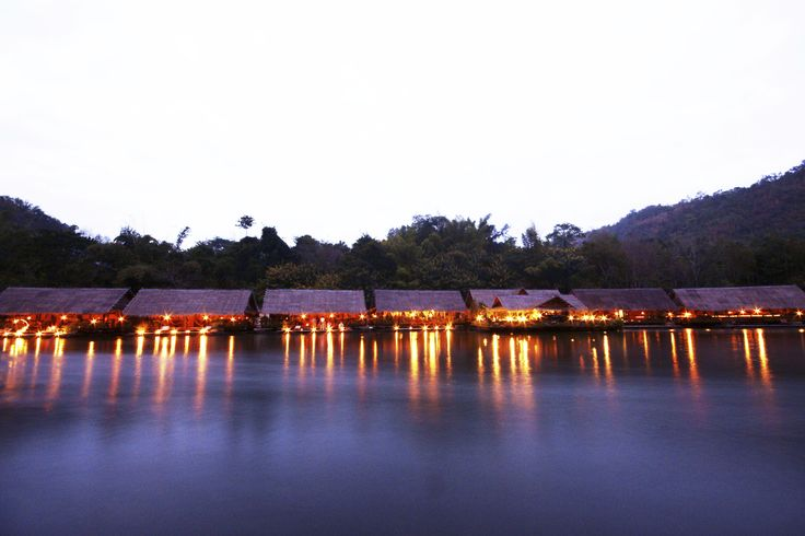 The River Kwai Jungle Rafts by night... How peaceful is that?  #Hotel #FloatingHotel #RiverKwai #Thailand