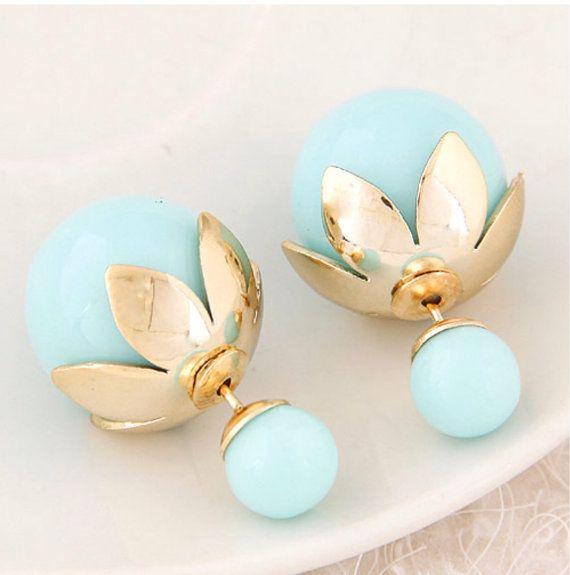 SALE  Double Pearl Earrings Double Ball Earrings by NLearrings
