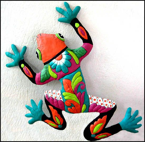 Painted Metal Frog Tropical Garden Wall Decor, Outdoor Metal Art, 13″ x 17″