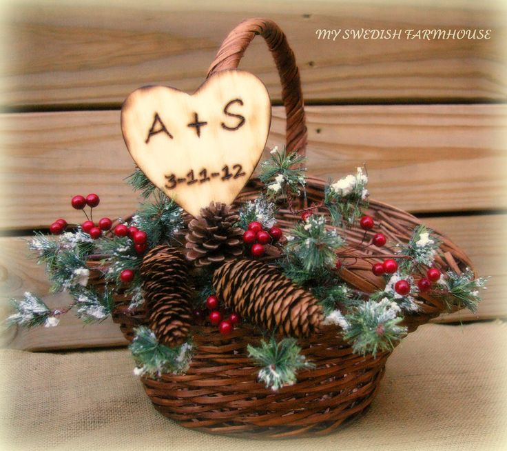 Personalized Winter Wedding Program Basket Card Box Large Christmas Wedding Basket READY TO SHIP. $52.00, via Etsy.