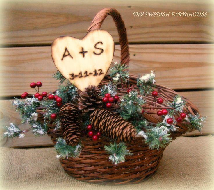 Personalized Winter Wedding Program Basket Card Box Large Christmas Wedding Basket READY TO SHIP. $52.00, via Etsy.