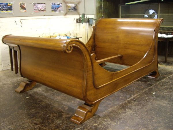 Sleigh Bed - French Oak -  French Polish Finish