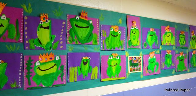 PAINTED PAPER: 2nd grade frog prince fairy tales art lesson project paint