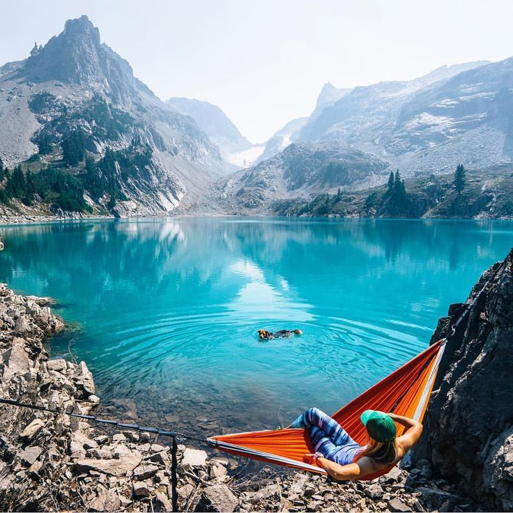Holy #*%^! If this doesn't make you want to take your dog and go explore something epic, nothing will! #campingwithdogs @sam__davis in the Alpine Lakes Wilderness, Washington.
