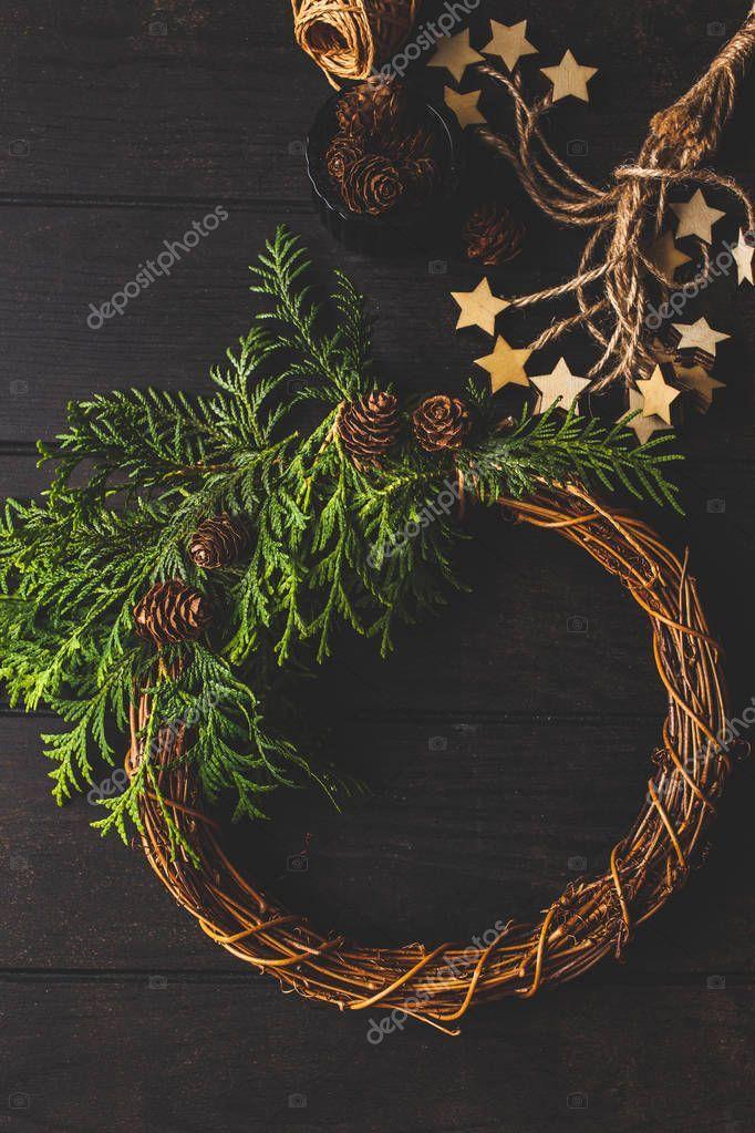 Christmas Composition On Dark Background Christmas Wreath Stock Photo Sponsored Dark Composition Christ Christmas Wreaths Christmas Photos Dark Backgrounds