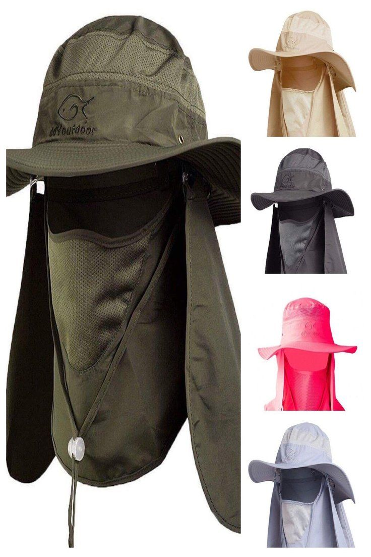 4a03c360 16.55 | New Summer Outdoor Sun Protection Fishing Cap Neck Face Flap Hat  Wide Brim