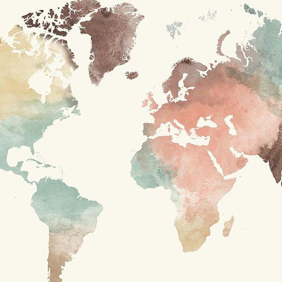 Weltkarte Drucken Aquarell Zu Reisen Karte Gro 223 E Weltkarte
