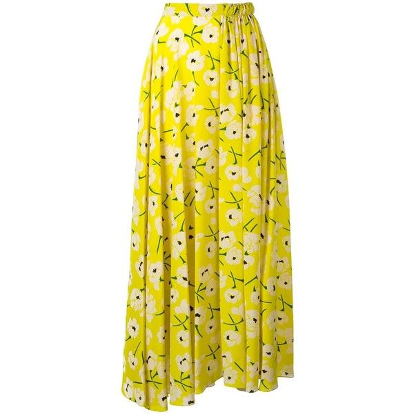 Rochas pleated maxi skirt ($1,666) ❤ liked on Polyvore featuring skirts, yellow, long pleated skirt, pleated maxi skirt, pleated skirt, yellow pleated maxi skirt and long skirts