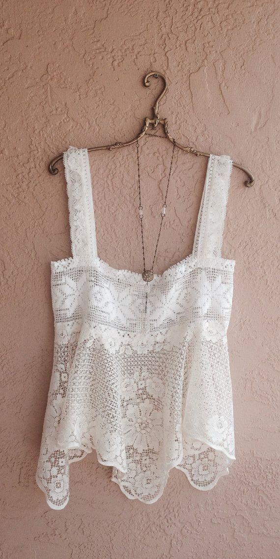 Bohemian crochet Vintage Lace Camisole gypsy wedding by BohoAngels, $60.00