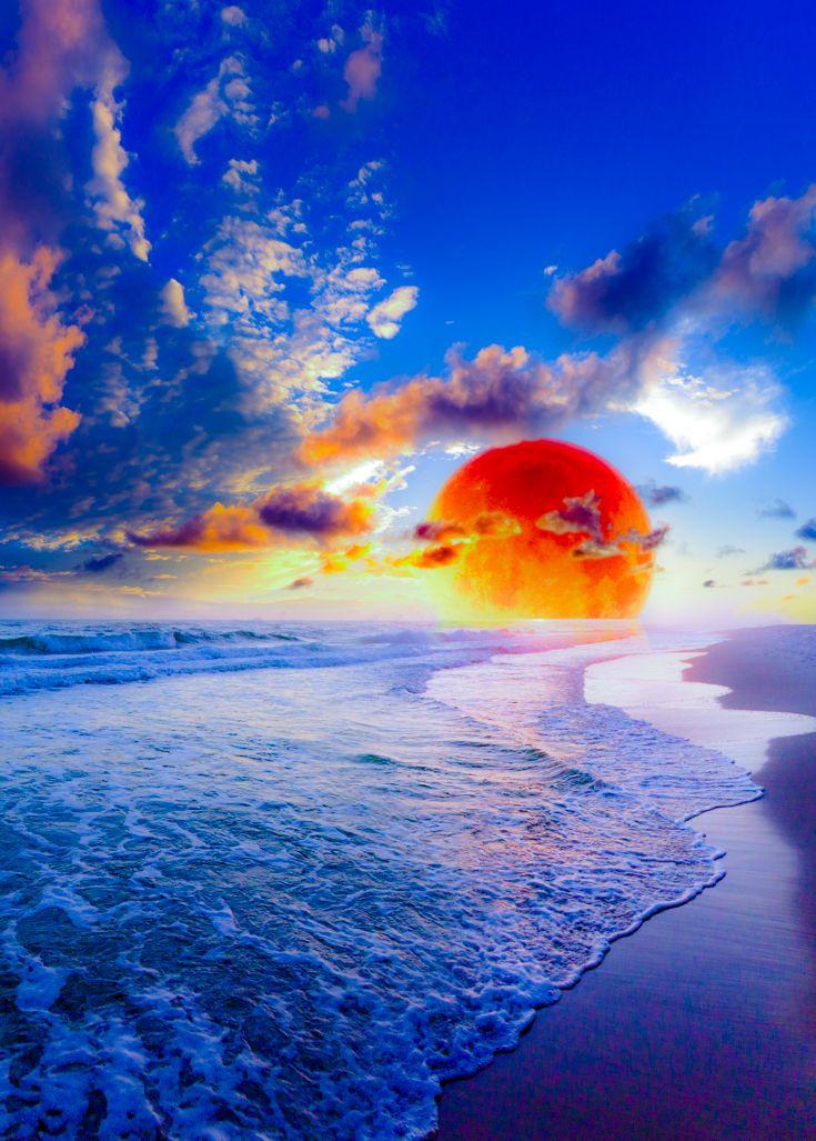 Beautiful blue sunset wallpaper