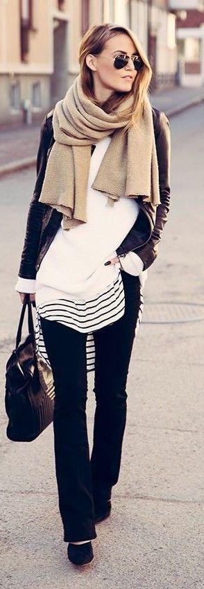 Camel Scarf, Black Leather Jacket, White Sweatshirt, BW Stripe Long Tee, Black Flared Pants, Black Bag, Black Court Shoes  By Kiki