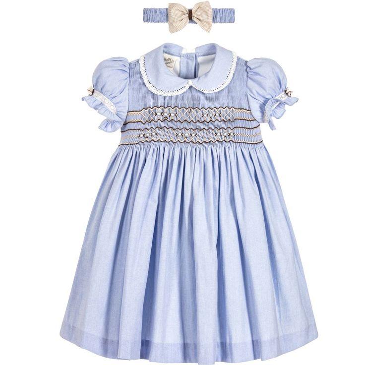 Pretty Originals Girls Blue Dress & Headband  at Childrensalon.com