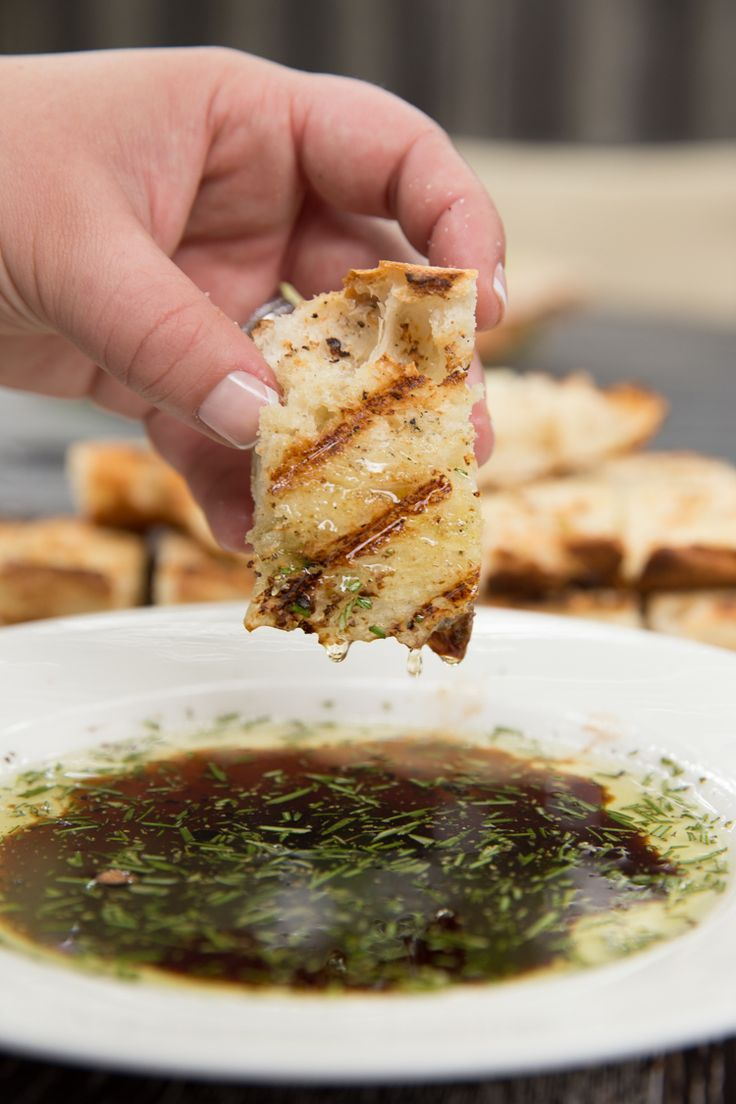 Grilled bread with rosemary dipping oil. Perfect appetizer or side dish!