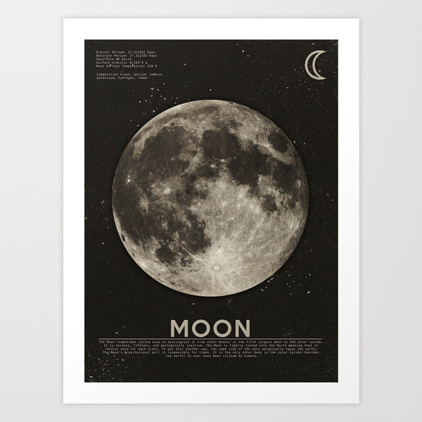 The Moon Art Print by Heather Landis | Society6