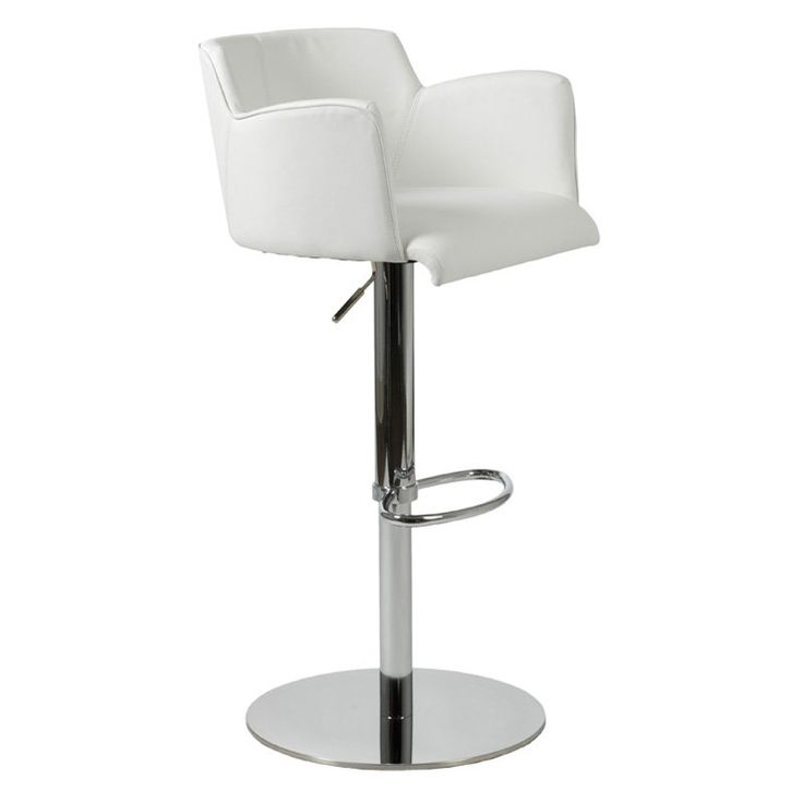 Euro Style Sunny Adjustable Bar Stool White - Bar Stools at Hayneedle