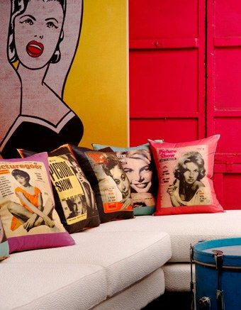 Color-blocking is a major trend right now, and using primary colors combined with pop art is a fresh way to do it. Accent an Andy Warhol-esque piece with pillows emblazoned with smiling 60's magazine cover girls. #interiors #design #decor