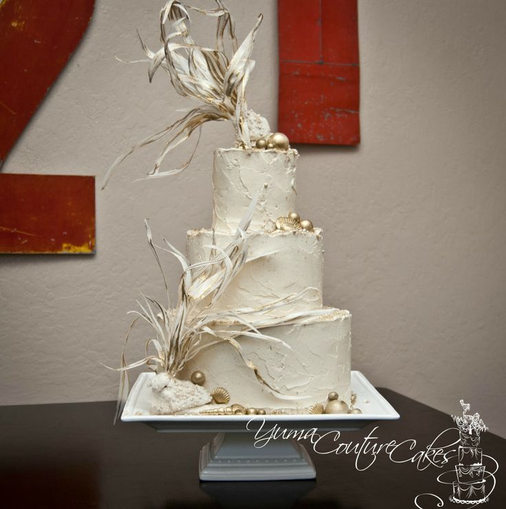 92 best wedding cakes images on pinterest cake wedding weddings gold sea theme cake for a fundraiser for our art center that i participate in junglespirit Gallery