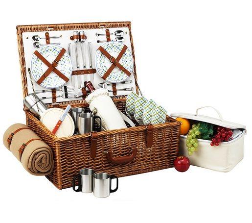 Summer Sale!! Dorset Picnic Basket For 4 W/Coffee, Wine & Blanket | WineCellarBoutique.com