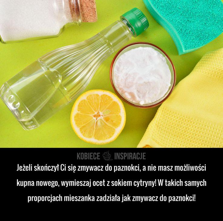 Jeżeli skończył Ci się zmywacz do paznokci, a nie masz możliwości kupna nowego, wymieszaj ocet z sokiem cytryny! W takich ...
