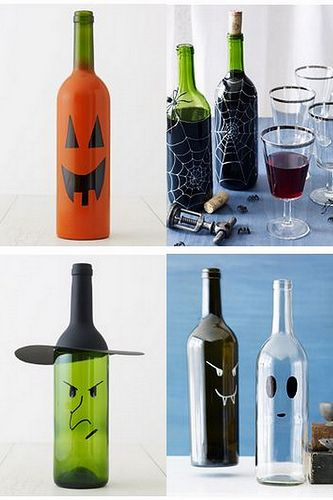 DIY halloween wine bottles We have enough empty bottles that's for sure.