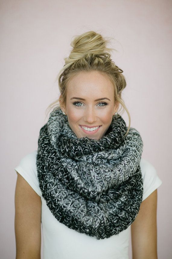 Infinity Scarf Knitted Ombre Black Gray and White by ThreeBirdNest