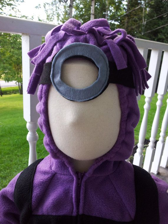Custom Baby or Child Evil Purple Minion Halloween Costume With Goggles - super cute. Wish I knew how to sew