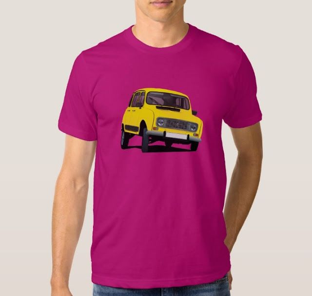 Yellow Renault 4L from 80's.   #french #france #automobiles #car #automobile #classiccars #illustration #80s #tshirt #tshirts #redbubble #vintage #yellow #auto #zazzle #renaultr4 #renault4l #renault4 #renault