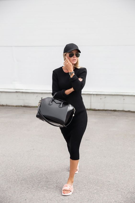 Kristin Sundberg - Puma by Rihanna Pink Slides, All Black Outfit, Givenchy Bag, Black Hat