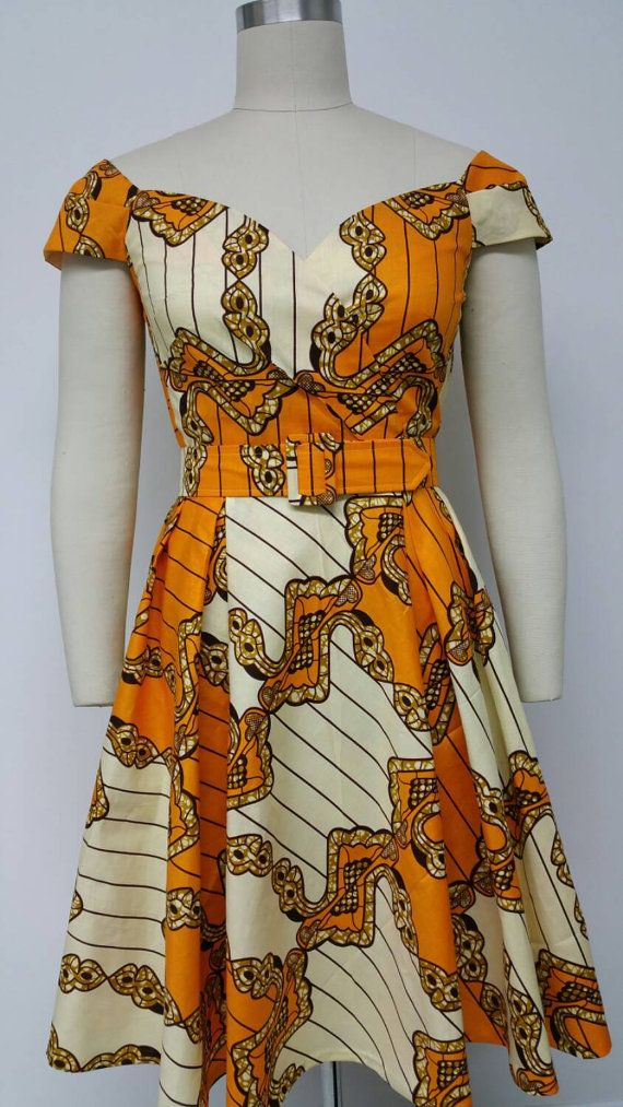 Dutch Wax Fitted Waist Dress with Cross Over by NanayahStudio