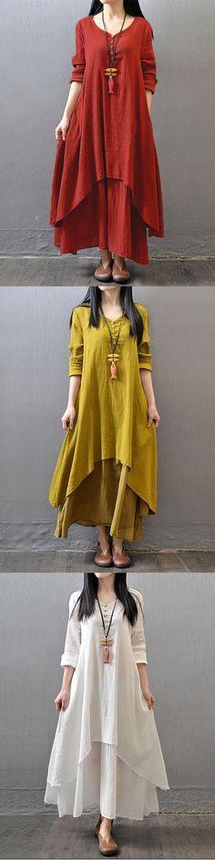 Gracila Vintage Women Long Sleeve V Neck Irregular Maxi Dress