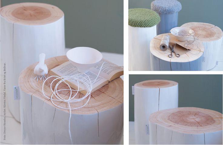 Pintar troncos y usarlos como mesillas o taburetes