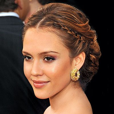 jessica alba hair: tiny hairline braid