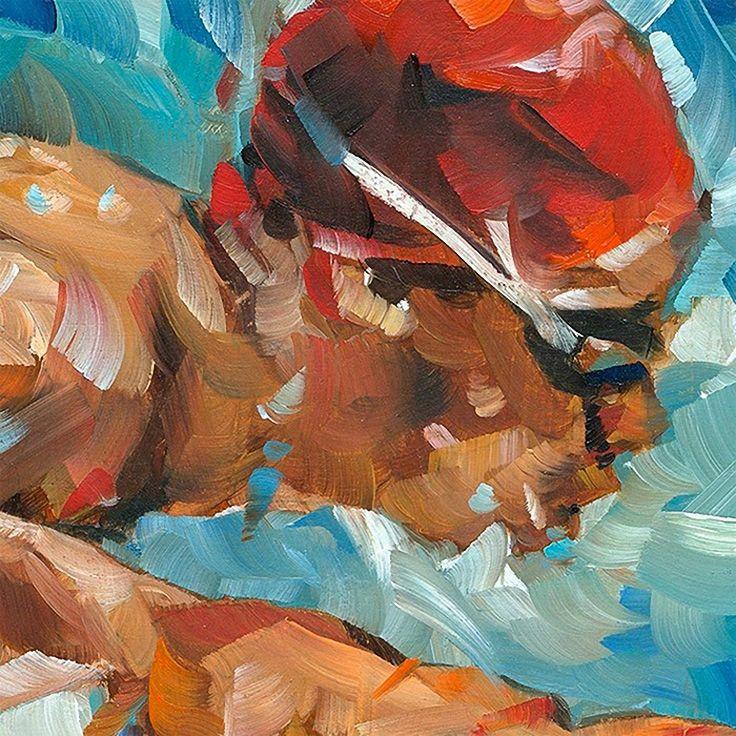 """Butterfly Stroke"" - Dorus Brekelmans (b. 1972), oil on panel with palette knife, 2013 {contemporary figurative #impressionist art male swimmer man face portrait profile cropped #expressionist texture painting detail #loveart} <3 Splash !! dorusbrekelmans.nl"