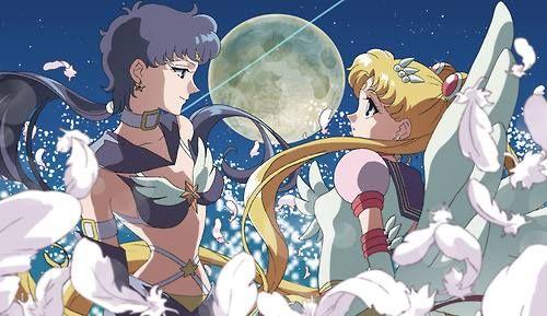 """Sailor Moon StarS"" fan art - Sailor Star Fighter and Eternal Sailor Moon."
