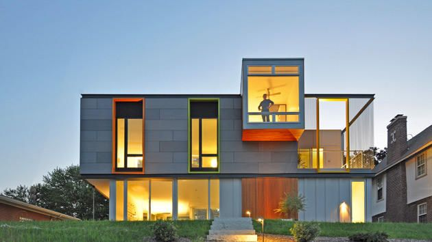 "Johnsen Schmaling Architects were honored for the OS House, set by Lake Michigan in Racine, Wis. The upper part of the exterior is clad in concrete panels; extensive glass connects interiors to the water, while the colorful vertical ""apertures"" are meant to be a nod to the bright, cheerful..."