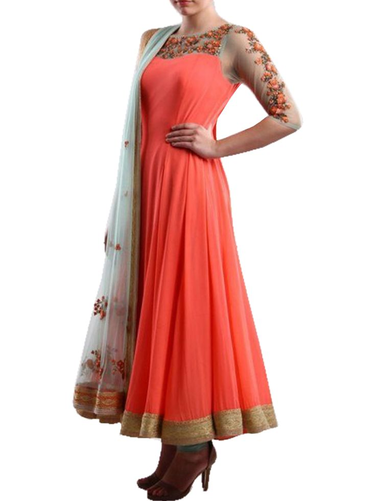 Shop Online for Rozdeal Dazzling Orange Anarkali suit in India at Voonik.com, 4114746 ✓Easy Returns ✓Pan india Shipping ✓Affordable Prices ✓Cash On Delivery