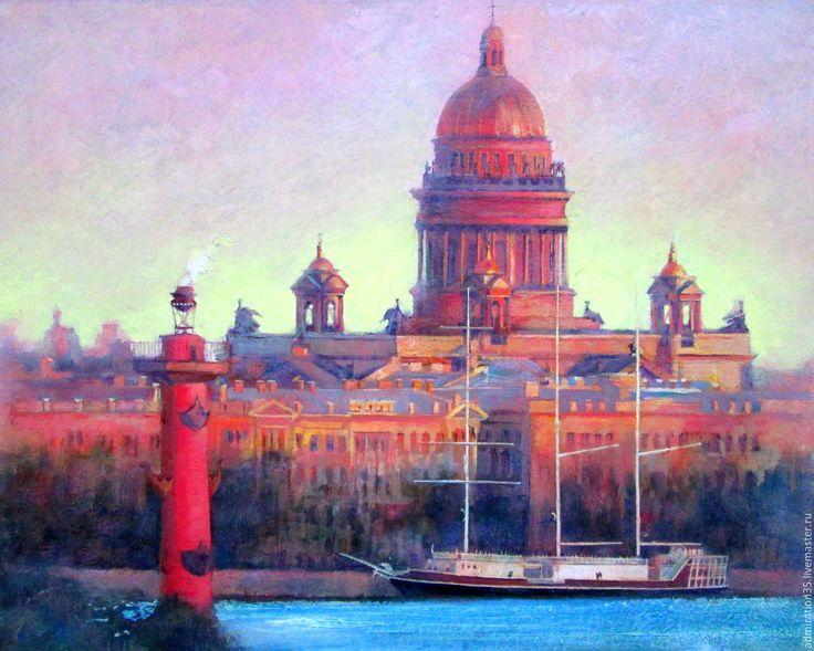 Купить Картина маслом Исакиевский собор - городской пейзаж, картина в подарок, картина маслом